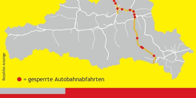 Übersicht über die Sperrren der Autobahnabfahrten entlang der A10 im Bundesland Salzburg